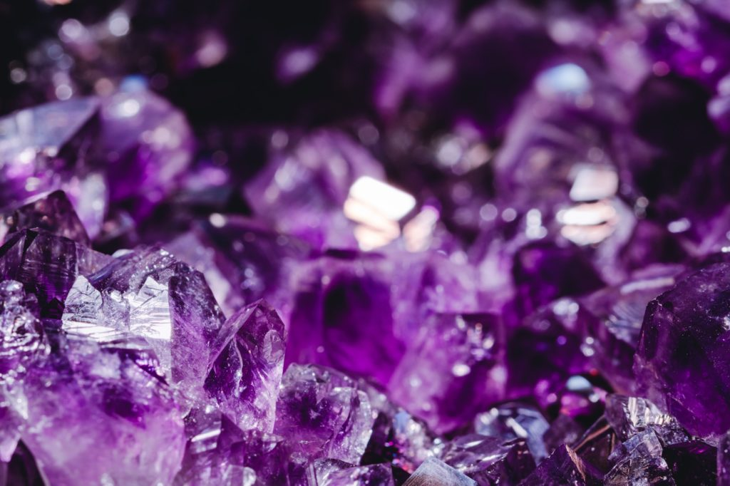 Macro photography of the amethyst crystal druse.